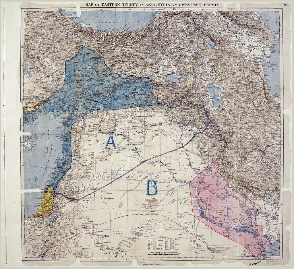 Map of the Sykes-Picot agreement. Public domain.