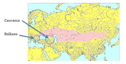 Caucausus Balkans Linguistic Spread Zone