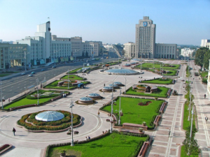 Minsk and its classic Soviet-style main square