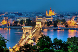 Buda is on one side of the Danube and Pest on the other.