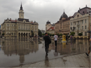 Main Square with Town Hall – the wet pavement makes a nice mirror