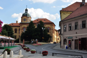 Main Square – the yellow and brown building is a language high school, which draws students from all over the country