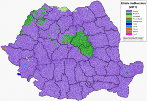 Areas with a Hungarian majority or plurality are shown in dark green.