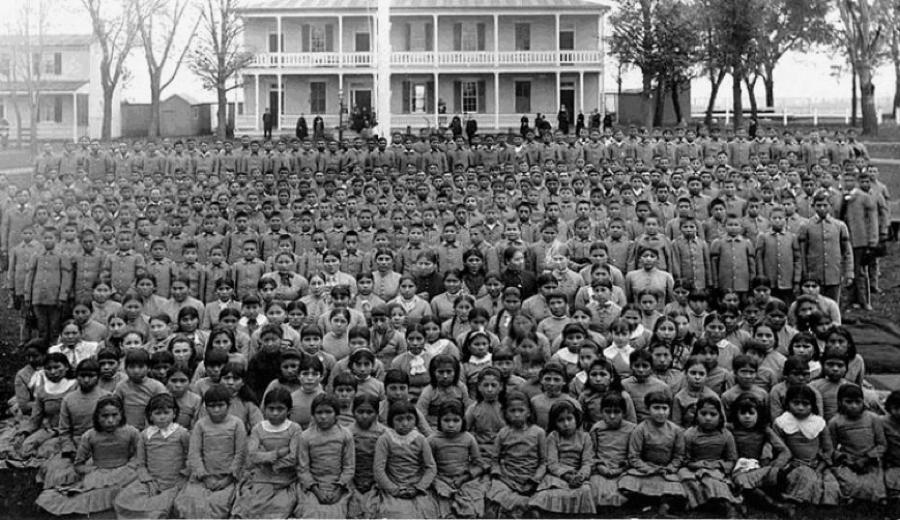 Pupils at Carlisle Indian Industrial School, Pennsylvania c. 1900