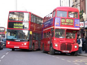 London buses are red and double decker