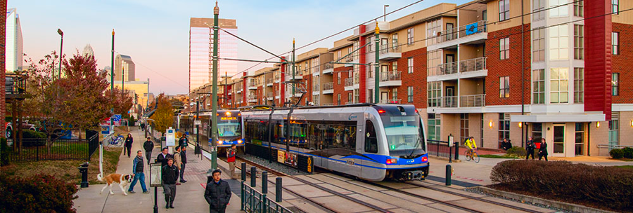 Light rail stop in South End