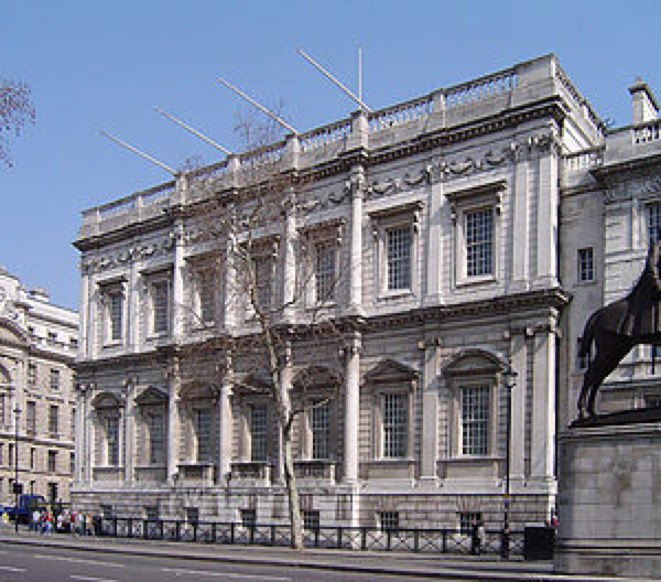 Jones's Banqueting House, Whitehall, construction started 1619. It is the only remaining component of the Palace of Whitehall.