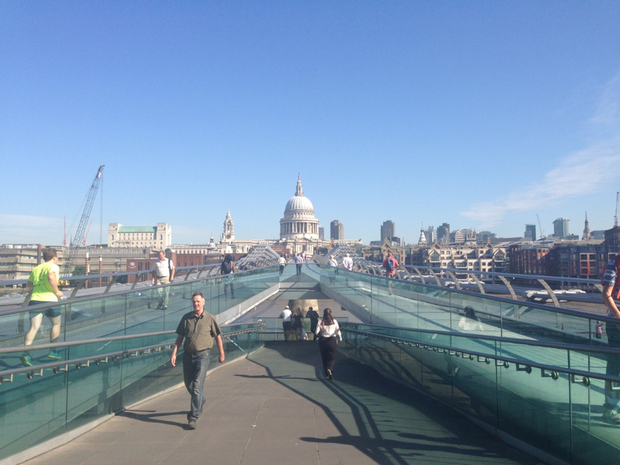 I took this picture of St. Paul's from the south end of the Millennium Bridge, facing north.