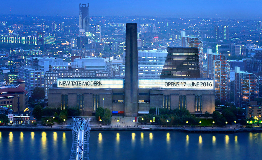 The Bankside Power Station was converted into the New Tate Modern and opened in 2000. New galleries opened in 2016. The Tate is one of the UK's top three tourist attractions. Here you get an aerial view of the Millennium Bridge.