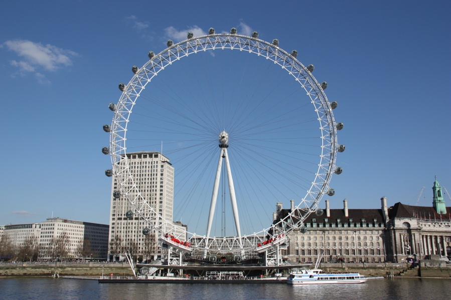 The London Eye, smack in the middle of the south bank of the Thames
