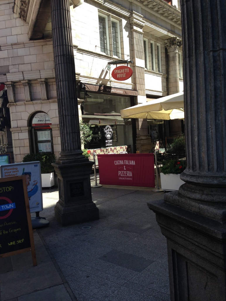 Spaghetti House is on Sicilian Avenue, a short pedestrian street full of restaurants. I took this picture in August, so no snow.