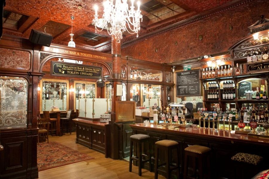 One of the several bars inside The Argyll Arms