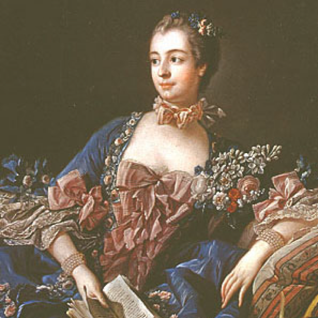 Middle-class Jeanne Poisson became Madame de Pompadour, mistress of Louis XV, who constantly met the monarch's deepest desires and yearnings