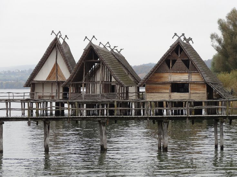 A reconstruction of stilt houses common in Alpine regions with their many lakes in Neolithic times (10,000 BC – 4500-2000 BC)